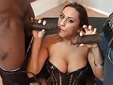 Busty latina enjoys sucking and fucking two big black dicks