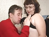 Russian granny with big tits and young man