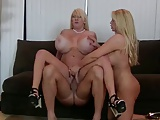 Two mature blonde with huge tits fucking with one man